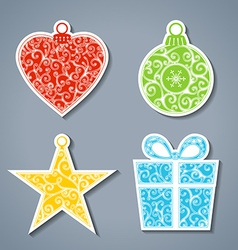 Set of paper christmas stickers vector