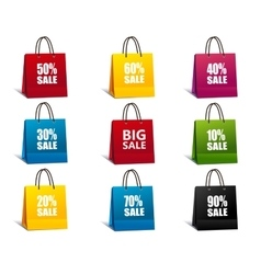 Shopping Bags colorful set vector image