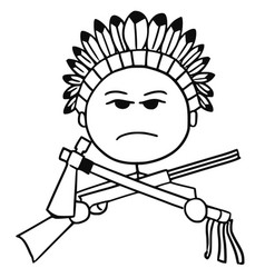 stickman cartoon of indian tribal chief vector image vector image
