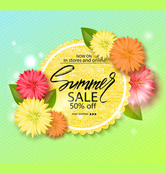 Summer sale banner poster with beautiful flowers vector