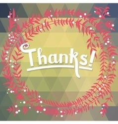 Thanks floral card with geometric pattern vector