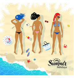 three sunbathing young women vector image