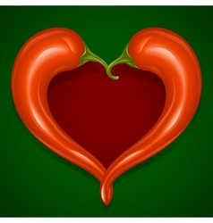 two red hot chilli pepper frame vector image vector image
