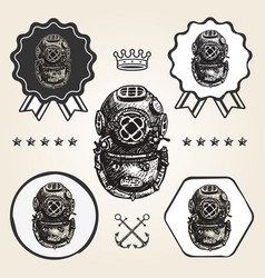 vintage diving helmet icon flat web sign symbol vector image