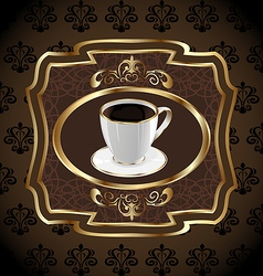 Vintage label for packing coffee coffee cup vector image