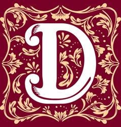 vintage letter D vector image vector image