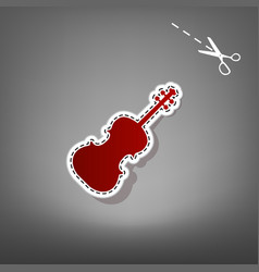 Violine sign red icon with vector