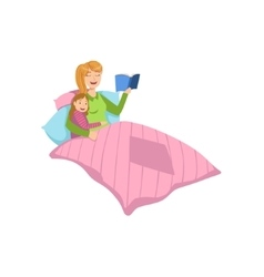 Mother and child reding bedtime story together vector