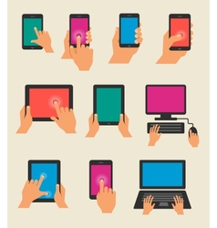 Set of hands holding tablet and smart phone vector