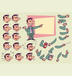 caucasian businessman face and body elements vector image