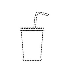 Drink sign   black dashed icon vector