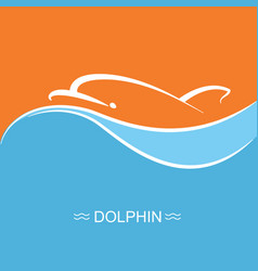 Dolphin symbol on blue sea wave background vector