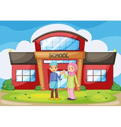 A muslim couple holding their hands in front of vector image