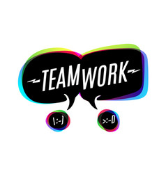 Colorful bubbles with text teamwork vector