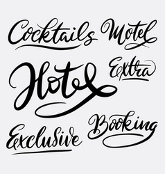 Hotel and exclusive hand written typography vector