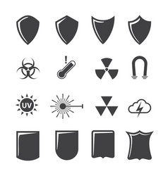 Shield and protection icons set on texture vector