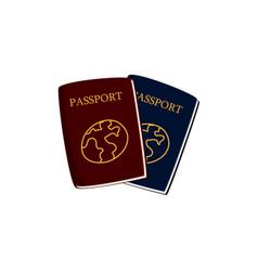 Two cartoon passports travel documents vector