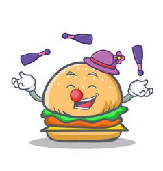 Juggling burger character fast food vector