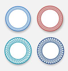 Empty white dish with modern korean pattern vector