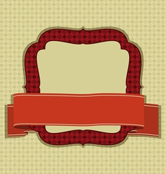 Vintage frame with ribbon and space for text vector