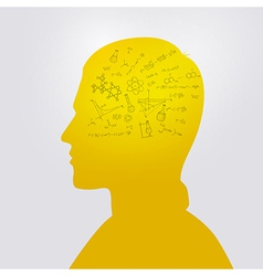 Mans head with education doodle vector image
