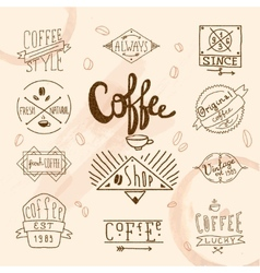 Vintage retro coffee labels vector