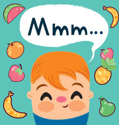 Child-who-loves-to-eat-fruits vector