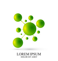 3d green logotype icon dna molecule vector image