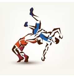 Wrestling symbol silhouette of two athletes vector