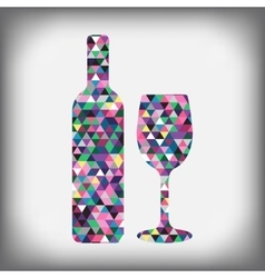 A bottle of wine with a glass abstract figure vector