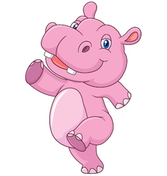 Cartoon cute baby hippo running and happy vector