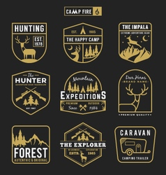 Camping outdoor and adventure gears badge logo vector
