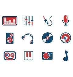 Audio and music simple icons vector