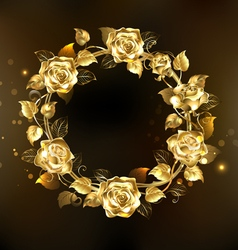 Wreath of Gold Roses vector image