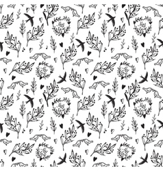 Black seamless pattern with weed flowers and birds vector