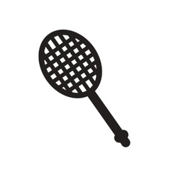 Flat icon in black and white style tennis racquet vector