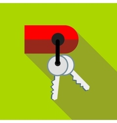 Keys on keychain icon flat style vector