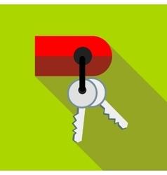 Keys on keychain icon flat style vector image
