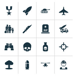 army icons set collection of rip ordnance atom vector image vector image