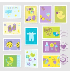 Baby boy stamps design elements vector