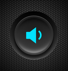 Black button with blue sound sign on carbon vector