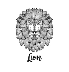 Black lion head with floral pattern vector