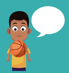 Boy basketball sport talking image vector