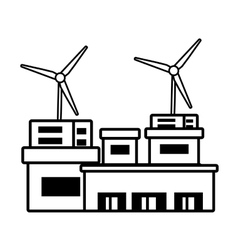 Building factory wind turbine clean energy outline vector