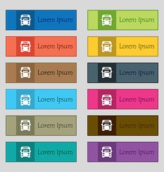 Bus icon sign set of twelve rectangular colorful vector