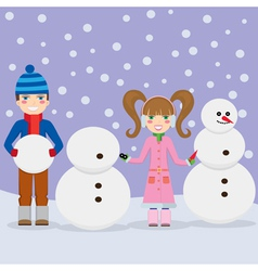 Children and snowmen vector image vector image