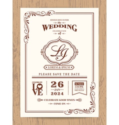 Classic vintage wedding invitation card vector image vector image