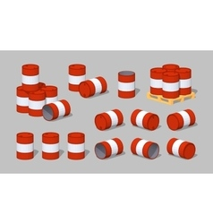 Cube World Red metal barrels vector image vector image