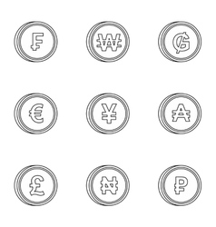 Currency icons set outline style vector