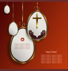 Design with easter eggs white with gold border vector